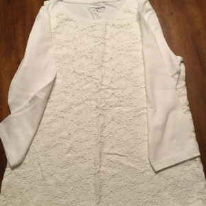 White Cotton 3/4 Sleeve Lace Front Tee, Ladies M
